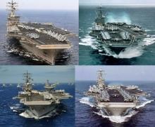 Nuclear aircraft carriers of the U.S. Third Fleet. (Clockwise from left) USS Nimitz, USS Carl Vinson, USS John C. Stennis, USS Ronald Reagan .